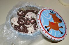Chocolate covered pretzels with crushed candy cane