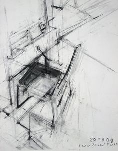 Ginny Grayson/ Easel, chair, book, floor, 2009. Charcoal on paper. 30 x 21 cm