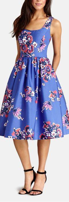 print cotton midi dress