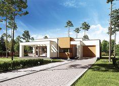 Projekt domu parterowego o pow. 99,7 m2 z garażem 1-st., z dachem płaskim, z tarasem, z wejściem od południa, sprawdź! House Plans, Pergola, Sweet Home, Garage Doors, Mansions, House Styles, Outdoor Decor, Home Decor, Ideas