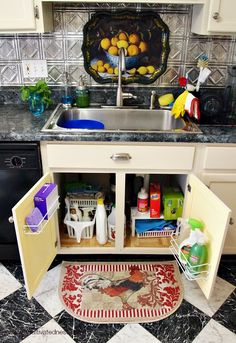 Organizing under your kitchen sink is hard with all those pipes in the way. Here are 4 Tips for Maximizing space under your kitchen sink