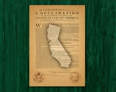 Declaration of independence day poster US state tribal gift of july patriotic california map historical poster printable art picture by GecleeArtStudio on Etsy Independence Day Poster, Declaration Of Independence, California Map, States In America, Printable Art, Etsy, Gift, Declaration Of Independence Date, Gifts