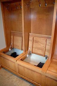 Mud room - individual storage bins, everything hidden - so smart!