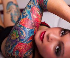 Very colorful girls sleeve #tattoo