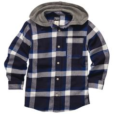Hooded Flannel Button-Front Shirt