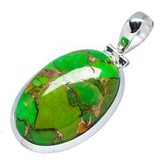 """Green Copper Composite Turquoise 925 Sterling Silver Pendant 1 3/4"""" PD498866"""