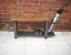 Hallway bench with shoe storage to base & umbrella stand to side beautiful handmade industrial chic (189.00 GBP) by Redcottagefurniture