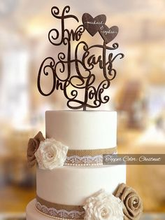 Personalized wedding cake topper. Two Hearts One Love wedding cake topper. Rustic Cake topper for wedding. Custom wedding cake topper.  Made from best natural wood perfect topper for any rustic wedding cake. Mr and Mrs Topper makes a wonderful memento of your wedding day, too.