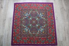BIG SIZE Vintage purple and red wool by StyleVintageShop on Etsy