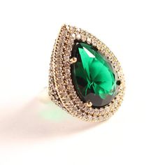 Hurrem Sultan!Turkish Jewelry Ottoman Handmade Emerald Topaz 925K Sterling Silver Ring size 7.5