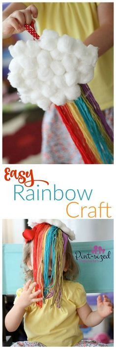 This super easy rainbow craft is perfect for giggly toddlers and preschoolers who love rainbows. Just a few materials makes this gorgeous, colorful craft! /alicanwrite/