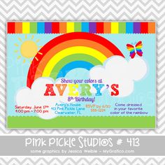 Rainbow 4 Personalized Party Invitation-personalized invitation, photo card, photo invitation, digital, party invitation, birthday, shower, announcement, printable, print, diy,