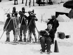 'Chaplin would do twenty, thirty, forty takes of a routine to get it right & sometimes stop production to think. Ideas came first' - The Story of Film Chaplin on the set of The Gold Rush, 1925 Charlie Chaplin, Stan Laurel, Anthony Perkins, Ian Mckellen, James Cameron, Vevey, Martin Scorsese, Pulp Fiction, Classic Hollywood