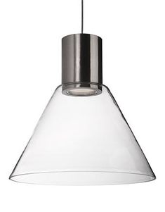 LED Pendant with Heavy Gauge Steel and Clear Trapezium Shaped Glass