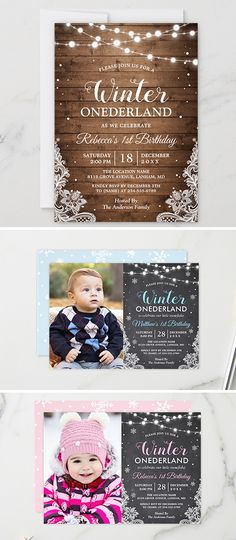 Winter Onederland Baby First Birthday Party Invitations Baby First Birthday, First Birthday Parties, First Birthdays, Winter Onederland, 1st Birthday Invitations, Thank You Cards, Amazing, Appreciation Cards, One Year Birthday