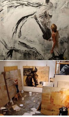 Ashley Collins - Massive Scaled Abstract Contemporary Paintings and Combines often including Partial Horse Imagery. #artist #artistatwork #studio