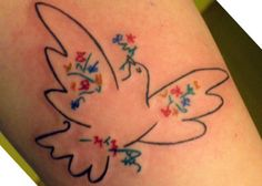 This piece is one of Picasso's Dove series. It is on my inner left forearm. I got it as a symbol of peace and freedom, to mark my two year sobriety anniversary. Done by Miss Clare Jordan in Connecticut.