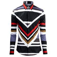 Stripe Color Block Plain Fly Shirt Collar Long Sleeves Men's Shirt #men, #hats, #watches, #belts, #fashion, #style