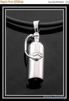 SALE Sterling Silver 3D Scuba Dive Tank Pendant Necklace