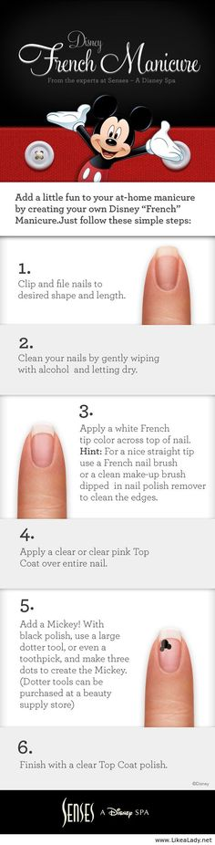 Add a little fun to your at-home manicure by creating your own Disney French Manicure