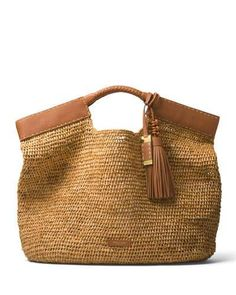 V3QGS Michael Kors Collection XL Market Raffia Tote Bag