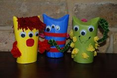 """Super easy and fun MONSTER TP Roll craft. Love these little guys as they are easy, a great way to use up odds and sods AND there is """"no right and wrong"""". Perfect little Halloween Craft for Kids. Or make them to keep the night time monsters away!"""