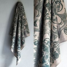 Handprinted and handsewn cotton blend scarf Linocut Prints, Hand Sewing, Printing On Fabric, Hand Carved, I Shop, Cotton Fabric, Handmade Items, Carving, Etsy Shop