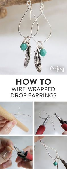 This tutorial shows you how to make beautiful wire-wrapped drop earrings using four inches of wire and unusual tools.