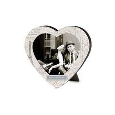 Decoupage Heart-Shaped Desktop Plaque, Heart, 6 x 6.5 inches, Beige