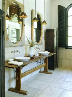 week 6: Fauctes/Fixtures: i love the antique table used as the vanity area covered in a high gloss,the gloss adds that small touch of modern design. the use of simple sinks and fixtures really create a sense of old world simplicity.  Source:  http://www.bhg.com/bathroom/vanities/open-vanity-bath-storage/#page=13