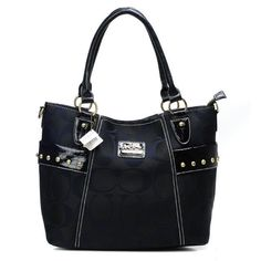 Look Here! Coach Stud In Signature Medium Black Totes BXW Outlet Online
