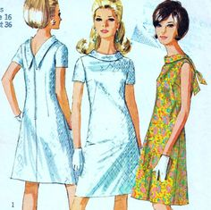 "EASY Vintage 60s Mod DRESS Sewing Pattern Bust 36"" Size 12 Retro EVENING A-line"