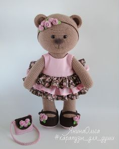 Mixed Pattern Shabby Chic Outfit For Big - Diy Crafts - Marecipe Crochet Dollies, Crochet Teddy, Crochet Bunny, Crochet Animals, Crochet Toys, Crochet Bear Patterns, Amigurumi Patterns, Teddy Bear Toys, Amigurumi Doll