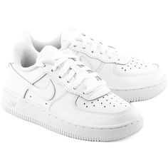 NIKE Force 1 - Białe Skórzane Sportowe Dziecięce #mivo #mivoshoes #buty #shoes #nike #airforce #kids #sport #fashion #style #colors #white #new #collection #newcollection #stylish #streetlook #street #lifestyle #fall #winter #2015 #2016