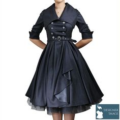Plus size Rockabilly Gothic lolita black satin military swing Dress Pin Up Outfits, Pin Up Dresses, 50s Dresses, Cute Dresses, Fashion Dresses, Dress Up, Rockabilly Dresses, 50s Rockabilly, Rockabilly Fashion