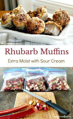 Moist streusel rhubarb muffin recipe, made with sour cream. They are extra moist and can be made with fresh or frozen rhubarb. A super moist rhubarb muffin that features sour cream and a crunchy crumb topping. Frozen Rhubarb Recipes, Freeze Rhubarb, Rhubarb Desserts, Fruit Recipes, Muffin Recipes, Baking Recipes, Breakfast Recipes, Dessert Recipes, Strawberry Rhubarb Muffins