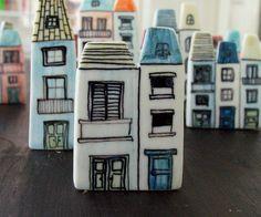 houses porcelain brooch