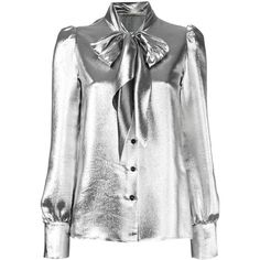 Saint Laurent metallic pussybow blouse (98.645 RUB) ❤ liked on Polyvore featuring tops, blouses, grey, metallic top, puffy sleeve blouse, gray top, metallic blouse and pattern blouses