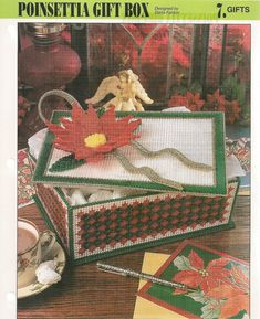 Poinsettia Gift Box Plastic Canvas Pattern by needlecraftsupershop, $4.99