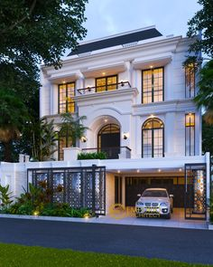 Febe Private House Design - Rawamangun, Jakarta Timur- Quality house design of architectural services, experienced professional Bali Villa Tropical designs from Emporio Architect. Classic House Exterior, Classic House Design, Dream House Exterior, Dream Home Design, Bungalow House Design, House Front Design, Small House Design, Modern House Design, Contemporary Design