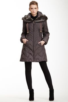 Anna Smocked Faux Fur Puffer Coat on HauteLook