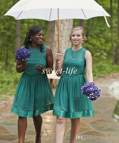 2015 Teal Short Bridesmaid Dresses Knee Length Cheap A-Line Sheer Neck Chiffon Wedding Guest Party Dress Plus Size Maid of Honor Dresses Online with $59.71/Piece on Sweet-life's Store | DHgate.com