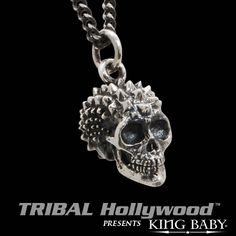 PUNK SKULL Pyramid Studded Sterling Silver Pendant Necklace by King Baby Studio