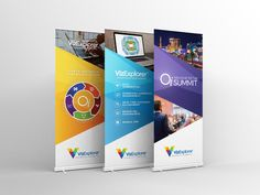 3/4 pop-up banner stand designs created for the first annual OI Summit hosted by VizExplorer
