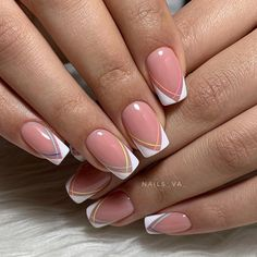 pink french nails Tips Pretty Nail Colors, Pretty Nail Designs, Best Nail Art Designs, Colorful Nail Designs, Cute Acrylic Nails, Cute Nails, Nail Art Arabesque, Hair And Nails, My Nails