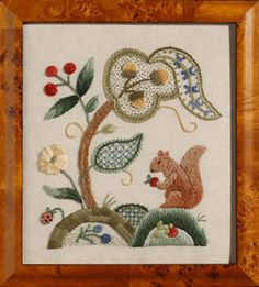 Autumn Frolic by Tristan Brooks - this pattern was my first crewel piece. It is currently at the framers. Bordado Jacobean, Jacobean Embroidery, Embroidery Works, Embroidery Patterns Free, Crewel Embroidery, Vintage Embroidery, Embroidery Designs, Stitch Games, Textile Fiber Art