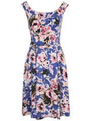 Blurred Floral Bardot Prom Dress