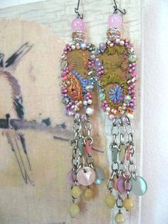 Pastel Embroidery earrings, Antique Embroidered, Beaded, Pink, Green, Lavender, Lilac, Blue, Shell, Boho. $65.00, via Etsy.