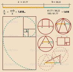 Illustration of Golden Ratio, Golden Proportion vector art, clipart and stock vectors. Fibonacci Golden Ratio, Fibonacci Spiral, Graphisches Design, Logo Design, Divine Proportion, Design Theory, Math Art, Technical Drawing, Sacred Art