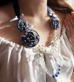 Denim Flowers Necklace Pearl Bohemian Glass by TheMireyBoutique